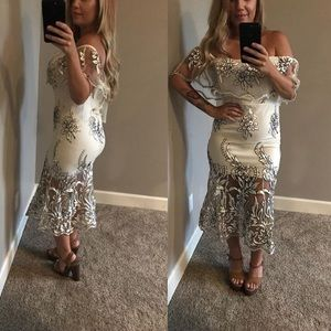 Ivory embroidered bodycon dress